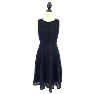 Anne Klein Blue Embroidered A-Line Midi Dress Sz 4
